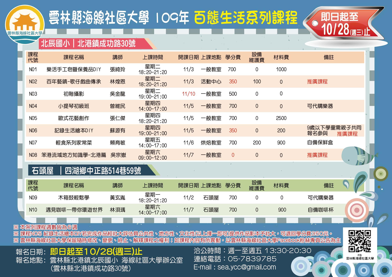 109年百態生活系列課程(報名時間:即日起至10/28截止)